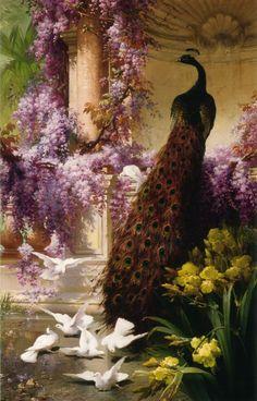 A Peacock And Doves In A Garden