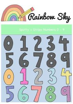 Numbers 0 - 9 Clipart Great to use in worksheets, activity stations, flashcards or posters. With a total of 50 pieces in the set it includes: Rainbow Sky, Teaching Resources, Worksheets, Crisp, Numbers, Commercial, Backgrounds, Printing, Clip Art