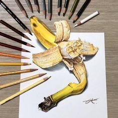 3d Art Drawing, Pencil Art Drawings, Art Drawings Sketches, Cool Drawings, Realistic Paintings, Realistic Drawings, Colorful Drawings, Crayons Pastel, Banana Art