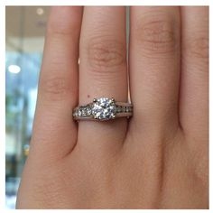 14k white gold Cathedral Channel Set Engagement Ring