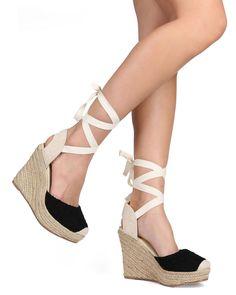 New-Women-Wild-Diva-Maegan-32-Floral-Lace-Square-Toe-Ankle-Wrap-Espadrille-Wedge