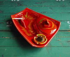 California Pottery Ceramic Ashtray Set with Lighter, Flame Orange Glaze by BingoBox on Etsy https://www.etsy.com/listing/79216768/california-pottery-ceramic-ashtray-set