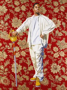 "Kehinde Wiley's artwork at the Brooklyn Museum, ""Willem van Heythuysen,"" 2005, oil and enamel on canvas. Wiley says his subjects pick their poses from art history books — as in this take on an old Dutch painting."
