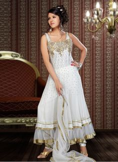 Aesthetic Off White Georgette Anarkali Suit