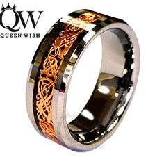 Queenwish 8mm Rose Gold Celtic Dragon Tungsten Carbide Carbon Fiber Band Bridal Silver Ring jewelry-in Rings from Jewelry on Aliexpress.com | Alibaba Group