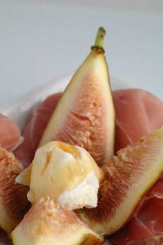 Ripe Figs with Goat Cheese, Prosciutto & Organic Honey - Great appetizer!