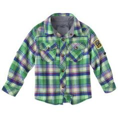 Genuine Kids from OshKosh Infant Toddler Boys Plaid Long-Sleeve Button Down Shirt Size 4T