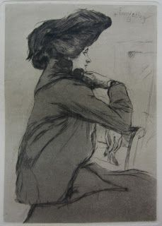 Eduard David Einschlag, Damenbildnis  Etching with aquatint, 1903. (Most likely his wife. In 1938 Eduard and Louise Victoria Einschlag were deported by the Nazis, and both were murdered at the Treblinka extermination camp, sometime around 1942.)