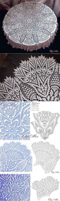 Crochet doily which would make a beautiful mandala, imagine your favorite colors there - Salvabrani Crocheted Doilies, Edgings, Tablecloths, And Beautiful pattern for curtain & quot; This Pin was discovered by Bir Crochet Doily Patterns, Crochet Chart, Thread Crochet, Filet Crochet, Crochet Designs, Crochet Tablecloth Pattern, Crochet Kitchen, Crochet Home, Crochet Dollies