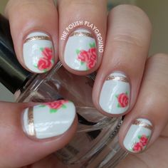 Nailpolis Museum of Nail Art | Vintage Rose Tea Cup Inspired Nail Art by Lisa N