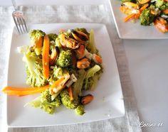 Ensalada de brócoli, zanahoria y mejillones al natural