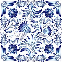 Blue Floral Pattern In Gzhel Style. Vector Illustration Royalty Free Cliparts, Vectors, And Stock Illustration. Pic 20246124.