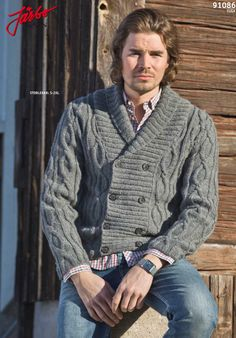 Classic cable stitch cardigan.