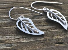 Handmade Silver Earrings 925 Sterling Silver Skeleton Leaf