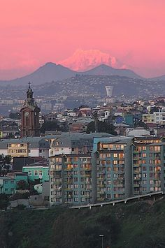 Mount Aconcagua at the background of Valparaiso, Chile Santa Lucia, Places To Travel, Places To Visit, Chili, Destinations, Future Travel, Travel Goals, Countries Of The World, Wonders Of The World
