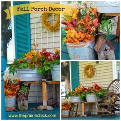 Simple tips for decorating your porch for Fall using vintage wash tubs. www.theprairiechick.com