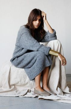 Lauren Manoogian | oversized knit dress, gold cuff & flats #style #fashion ||