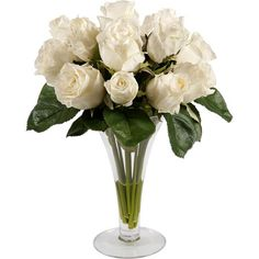 Displayed in a tapering glass vase, this blooming faux rose arrangement brings garden-inspired charm to your nightstand or foyer console table. ...