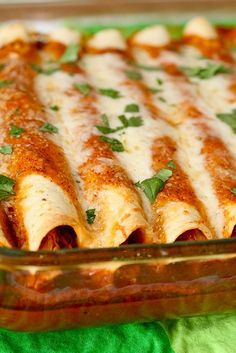 Chicken enchiladas - these are good (no canned sauce, yay!) I add a can of black beans + pinto beans, and the juice of a whole lime into the mix.