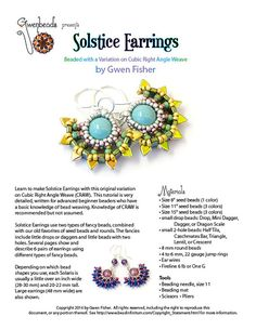 TUTORIAL Beaded Solstice Sun Earrings with Cubic di gwenbeads