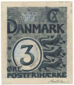 Denmark Two original artworks of Julius Therchilsen in black ink for the 1902 PO sponsored competition, rejected drawings for the lions type signed ...