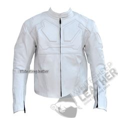 Men handmade white Tom Cruise Oblivion Movie Motorcycle Leather Jacket #Handmade #Motorcycle