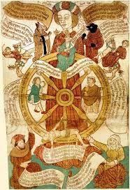 Rueda de la Fortuna. Reynard the Fox as Pope and Antichrist Colored woodcut, German (c.1470-80)