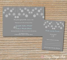 Wedding Invitation - Snowflake Ornaments in Gray and White - Invitation and RSVP Card with Envelopes. $2.25, via Etsy.
