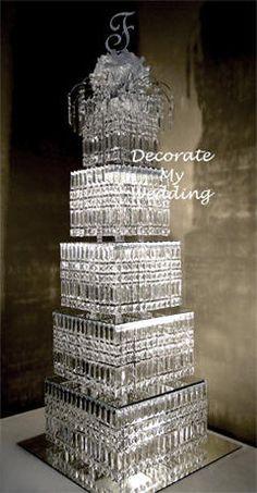 DIY Crystal Cake Stand Wedding | the crystal wedding cake centerpiece square prism crystal pendants