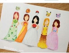 Wich one is your favorite dres! Cute Disney Drawings, Kawaii Drawings, Cute Drawings, Art Drawings Sketches, Cool Sketches, Social Media Art, Fashion Design Drawings, Amazing Drawings, Tag Art