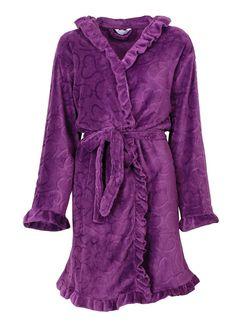 Tendernes dames badjas coral fleece purple (super zacht)