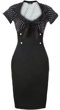 Vintage Style Rockabilly Dress black polka dot pinup swing retro 50's pencil XL
