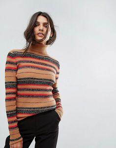 Vero Moda Striped Roll Neck Top - Beige