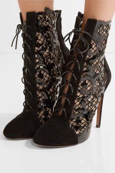 bea4b91d110d2b ALAÏA Laser-cut suede and patent-leather ankle boots - Shoes Post