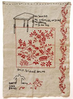 """Leonilson (José Leonilson Bezerra Dias) (Brazilian, From the exhibition """"Under the Weight of My Loves. Embroidery Needles, Embroidery Art, Cross Stitch Embroidery, Embroidery Patterns, Textile Fiber Art, Textile Artists, Contemporary Embroidery, Thread Art, Collage"""