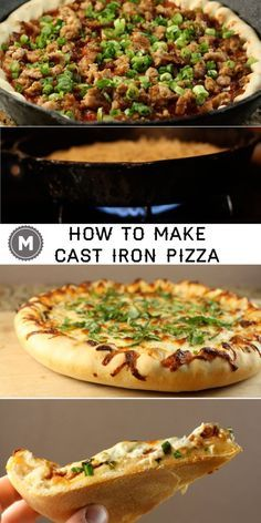 Yes, you CAN make pizza in a cast iron skillet! Here's my easy tutorial on how to do it right. Make your next homemade pizza in a cast iron skillet, and your family may never want another dinner recipe ever again! Cast Iron Skillet Cooking, Iron Skillet Recipes, Cast Iron Recipes, Skillet Meals, Skillet Food, Cast Iron Pizza Recipe, Skillet Kitchen, Pizza Lasagne, Pesto Pizza