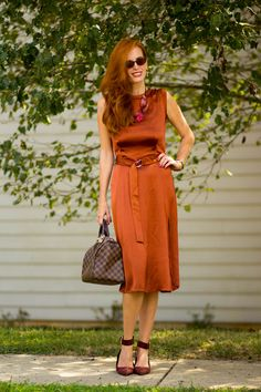 Turning Heads Linkup:Fall Trends: NYFW Potters Clay-A Satin Midi Dress from…