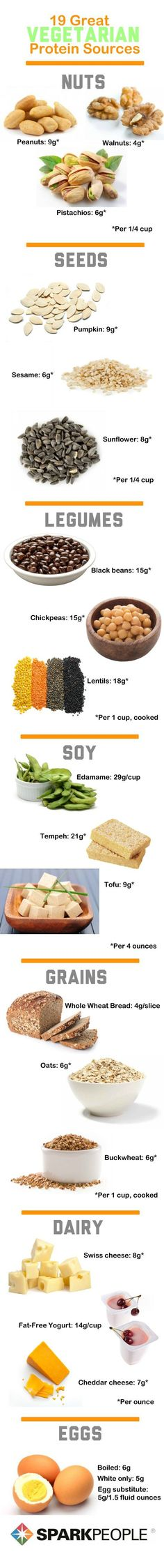 Vegetarian protein sources (Pic) &  Protein for Weight Loss (Link)