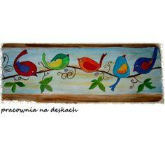 ptaszki na winorośli - pracownia na deskach