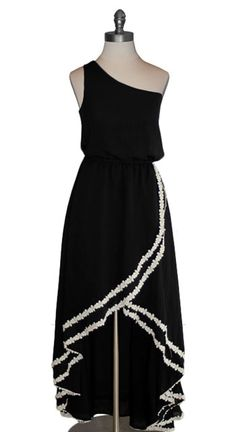 Judith March Crochet Trim Hi Low Maxi Dress - very elegant and unique. This is a cool take on a hi-low hemline, being more of a wrap skirt