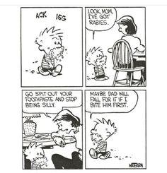 Calvin And Hobbes Comics, Snoopy Comics, Comics Toons, Bd Comics, Funny Cartoons, Funny Comics, Calvin And Hobbes Wallpaper, Science Jokes, Frases Humor