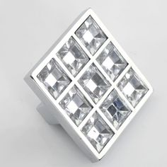 Crystal Knob Glass Knobs Dresser Knob Clear Square Drawer Knobs Pulls Handles…