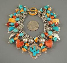 Vintage-NAVAJO-TURQUOISE-Cactus-Dan-DODSON-HEART-CHARM-Bracelet-Necklace