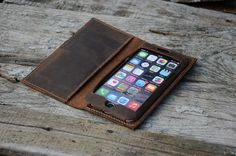iPhone 6 Plus leather Case Wallet iPhone 6 by jinapplehandmade
