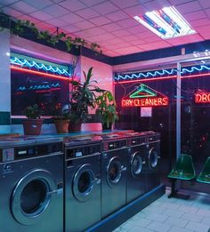 blue, dry cleaners, green, grey, lights