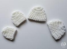 Micro Preemie Crochet Caps in White