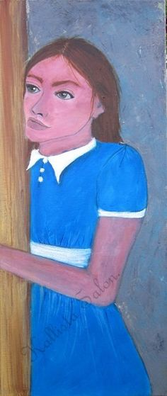 30x70cm - 12x28in Woman Portrait Figurative Painting Acrylic on Canvas