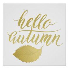 Hello Atumn | Faux Gold Brush Script Poster - fall decor diy customize special cyo