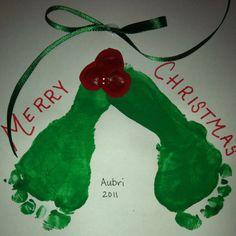 Mistletoe footprint christmas card