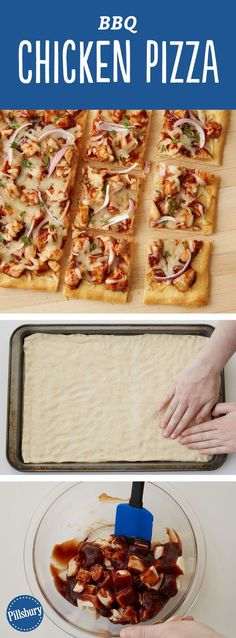 Ditch the delivery and make this tasty BBQ chicken pizza homemade — it's easy when you start with Pillsbury™ refrigerated classic pizza crust. Expert tip: You can use leftover cut-up cooked chicken br (Rotisserie Chicken) Pizza Recipes, Dinner Recipes, Cooking Recipes, Cooking Time, Cooking Courses, Cooking Fails, Dinner Ideas, How To Cook Chicken, Cooked Chicken